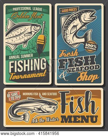 Fishing Sport Tournament, Seafood Shop Vector Banner. Bream, Salmon And Sheatfish, Sport Fishing Com