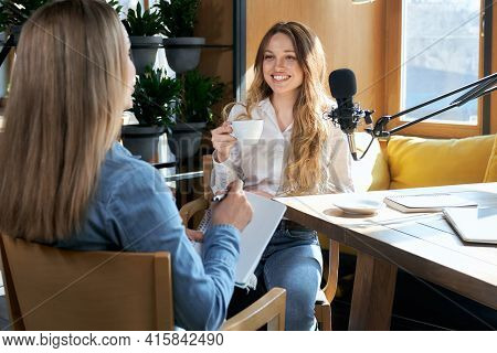 Side View Of Woman To Interview Blogger With Modern Microphone In Cafe. Concept Of Process Communica