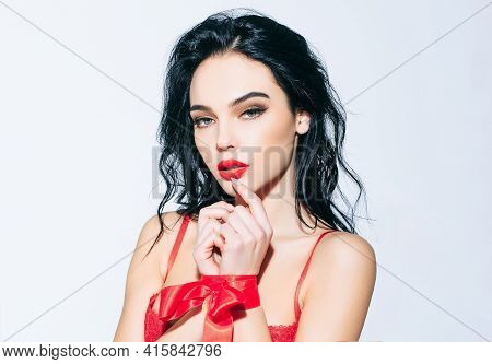 Seduce Sensual Woman. Sexy Girl With Tied Hands Red Ribbon. Beauty Female Face Portrait. Sensual Bea