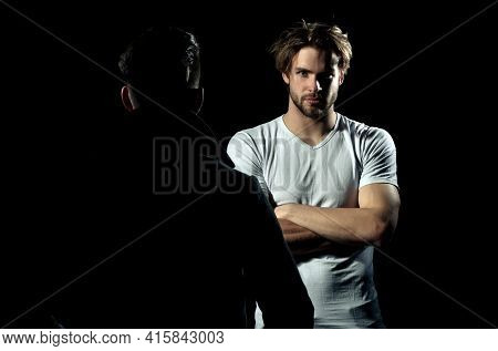 Two Men Standing Opposite. Focused Man, Serious Guy Having Conversation With Friend. Portrait Of A S