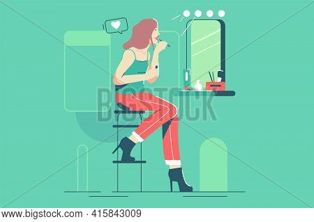 Pretty Girl Make Herself Up Vector Illustration. Woman Making Make Up In Front Of Mirror Applying Pr