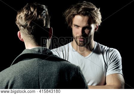 Focused Man, Serious Guy Having Conversation With Friend. Portrait Of A Serious Casual Men Standing