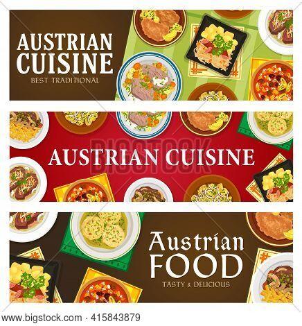 Austrian Cuisine Vector Banners. Roast Beef Esterhazy And Tafelspitz, Sauerkraut With Sausage, Meat