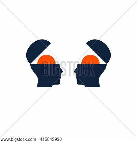 Empathy Symbol. Two Male Profiles With Open Mind