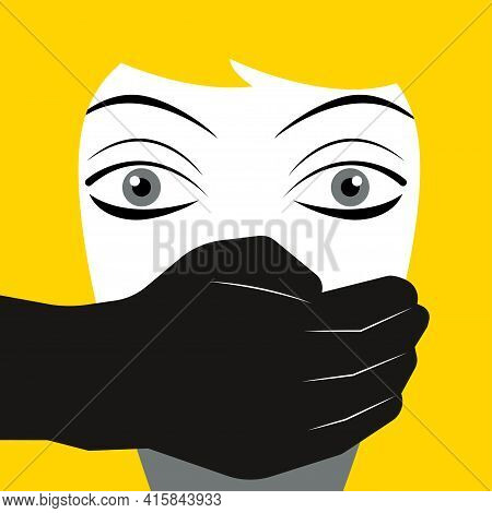 Abuse Of Illustration. Man Covering Womans Mouth