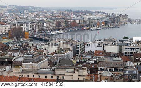 Geneva, Switzerland - November 26, 2016: Cityscape Of Geneva, Bird Eye View, Photo Taken From St. Pi