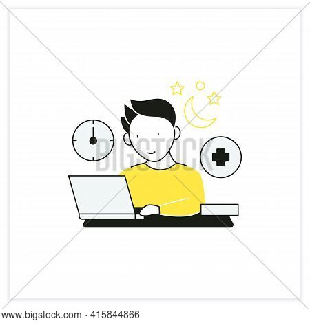 Workaholic Flat Icon.workaholism Treatment. Necessary Therapy.man At Laptop.overworking Concept.vect