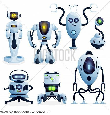 Robots Cartoon Characters And Android Bots, Vector. Future Ai Robot Cyborg And Droid Machines, Digit