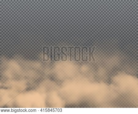 Dust Clouds Of Sand, Smoke And Dirt Air Background, Vector Dirty Powder Smog. Transparent Dust Storm