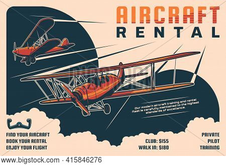 Rental Aircraft Tours, Private Pilot School Retro Poster. Historical Propeller Airplanes, Flying In