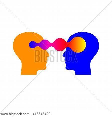 Emotional Intelligence, Logo Two Human Profiles, Coaching Icon, Psychologist, Empathy Symbol