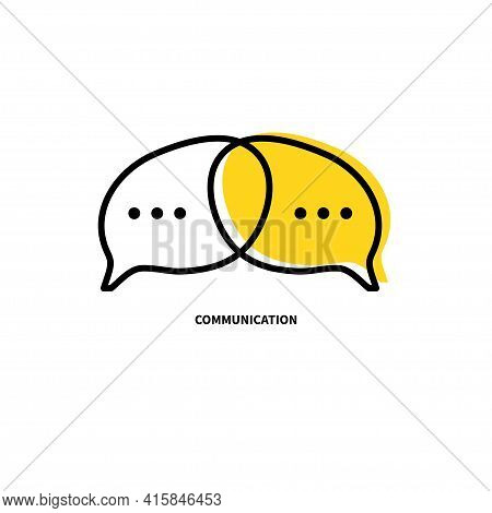 Two Brains And Comment Bubbles. Communication Icon