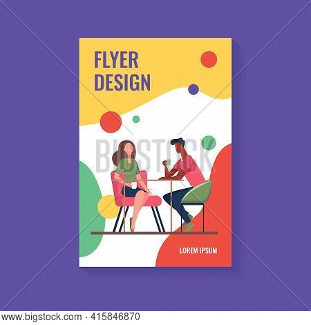 Couple Dating In Coffee Shop. Young Man And Woman Drinking Coffee Together Flat Vector Illustration.