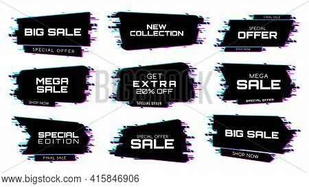 Sale Labels With Glitch Effect, Vector Icons For Special Edition Mega Sale. New Collection, Special