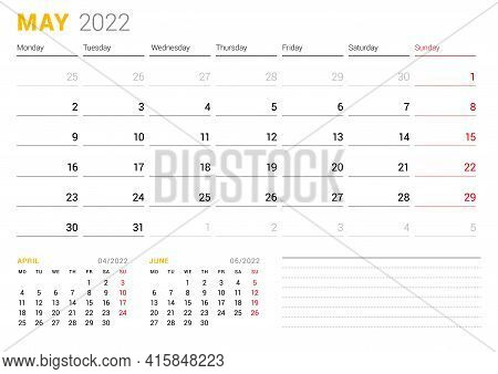 Calendar Template For May 2022. Business Monthly Planner. Stationery Design. Week Starts On Monday.