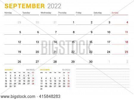 Calendar Template For September 2022. Business Monthly Planner. Stationery Design. Week Starts On Mo
