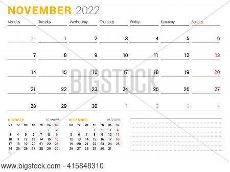 Calendar Template For November 2022. Business Monthly Planner. Stationery Design. Week Starts On Mon