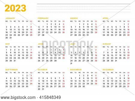 Calendar Template For 2023 Year. Business Monthly Planner. Stationery Design. Week Starts On Monday.