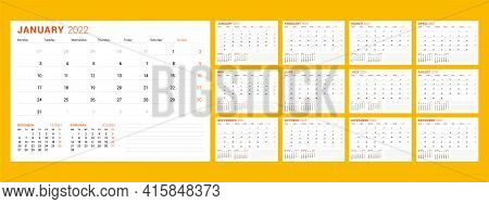 Calendar Template For 2022 Year. Business Planner. Stationery Design. Week Starts On Monday. Vector