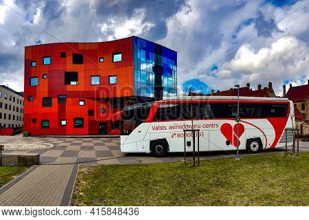 Latvia, Riga, April, 2021 - Facade New Modern Building Architecture At Pauls Stradins Clinical Unive