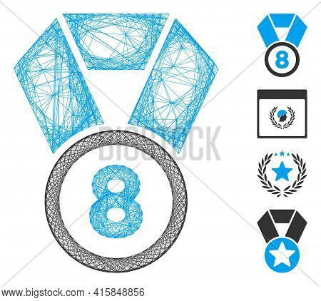 Vector Wire Frame 8th Place Medal. Geometric Wire Frame 2d Network Made From 8th Place Medal Icon, D