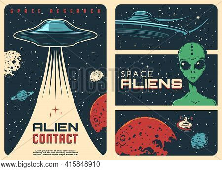 Alien Spaceship, Extraterrestrial Ufo Life Retro Posters. Humanoid Alien With Green Skin And Big Eye