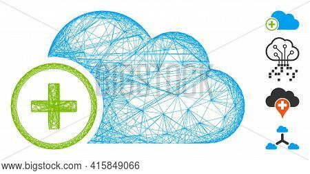 Vector Wire Frame Add Cloud. Geometric Wire Carcass 2d Network Generated With Add Cloud Icon, Design