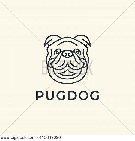 Line Art Pug Dog Logo Design Vector