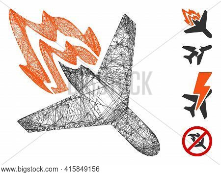 Vector Wire Frame Air Crash. Geometric Wire Frame Flat Net Made From Air Crash Icon, Designed From C