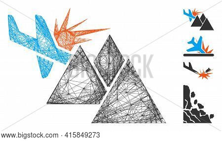 Vector Wire Frame Airplane Mountain Crash. Geometric Wire Frame Flat Net Made From Airplane Mountain