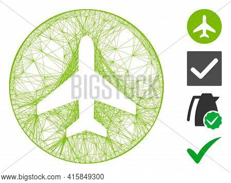 Vector Net Airplane Ok. Geometric Hatched Carcass Flat Net Made From Airplane Ok Icon, Designed From