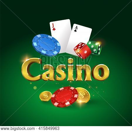 Casino Logo On A Green Background. Dice, Dice, Flying Gold Coins, Glitter And Glare Of Light. Vector