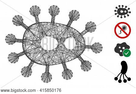Vector Wire Frame Bacilla. Geometric Hatched Frame 2d Network Generated With Bacilla Icon, Designed