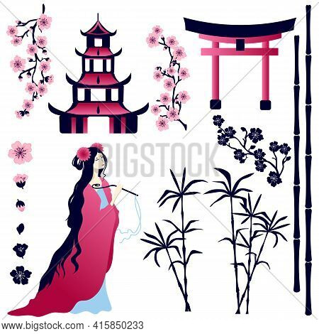 Asian Girl, Pagoda, Gate, Sakura Flowers, Bamboo Stems On A White Background. Vector Set Of Elements