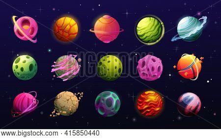 Space Planets, Cartoon Fantasy Alien Galaxy. Game, Ui Or Gui Interface Elements. Fantastic World Uni
