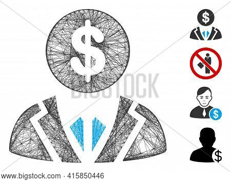Vector Net Banker. Geometric Wire Frame 2d Net Made From Banker Icon, Designed From Crossed Lines. S