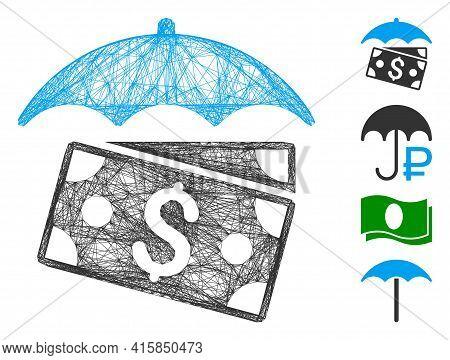 Vector Wire Frame Banknotes Umbrella. Geometric Wire Carcass 2d Net Made From Banknotes Umbrella Ico