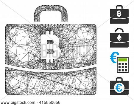 Vector Network Bitcoin Accounting Case. Geometric Hatched Frame Flat Network Generated With Bitcoin