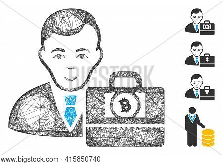 Vector Wire Frame Bitcoin Cash Accounter. Geometric Wire Frame 2d Network Generated With Bitcoin Cas