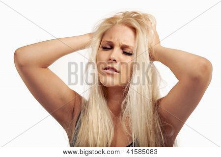 Frowning Woman Sick Of Too Much Pressure