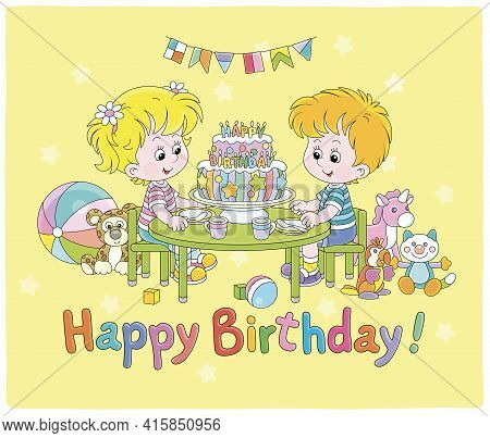 Birthday Card With Happy Little Kids Friendly Smiling And Sitting Around A Fancy Sweet Cake Decorate