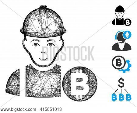 Vector Wire Frame Bitcoin Miner. Geometric Linear Frame Flat Network Made From Bitcoin Miner Icon, D
