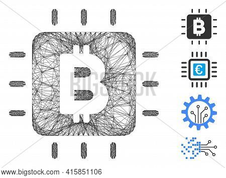 Vector Wire Frame Bitcoin Processor Chip. Geometric Wire Frame Flat Network Made From Bitcoin Proces