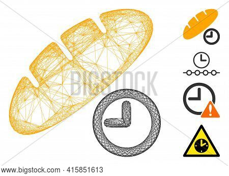 Vector Net Bread Lunch Time. Geometric Wire Frame 2d Net Made From Bread Lunch Time Icon, Designed F