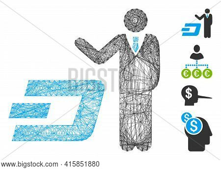 Vector Network Businessman Show Dash. Geometric Linear Carcass Flat Network Generated With Businessm