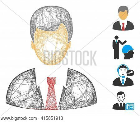 Vector Network Businessman. Geometric Hatched Frame Flat Network Generated With Businessman Icon, De