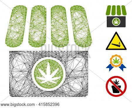 Vector Wire Frame Cannabis Shop. Geometric Wire Frame 2d Net Generated With Cannabis Shop Icon, Desi