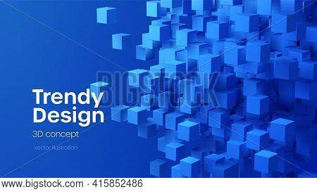Abstract Geometric Background With Blue 3d Flying Cubes. Modern Abstract Business Template With 3d B