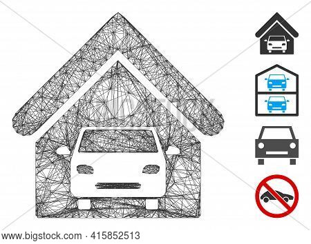 Vector Network Car Garage. Geometric Wire Carcass Flat Network Generated With Car Garage Icon, Desig