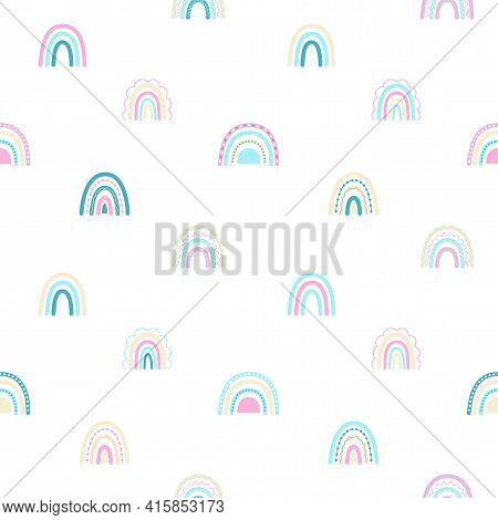 Baby Seamless Pattern With Cute Rainbows. Creative Vector Background For Fabric, Textile, Baby Wallp